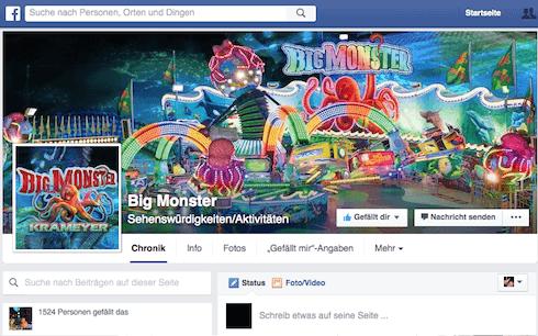 Jetzt sind wir auch bei Facebook vertreten. Werde Fan von Big Monster. Wir werden kurzfristige Aktionen und Gewinnspiele bei Facebook veranstalten. Mach mit, es lohnt sich.